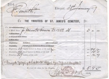 Receipt for Headstone for Hannah Penrith