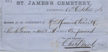 Receipt for the Interment of Hannah Penrith