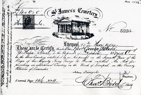 Plot Certificate for Reverend George Peters