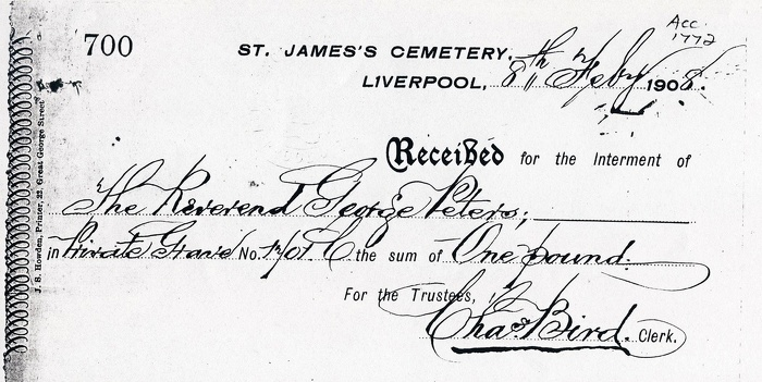 Receipt for the Interment of Reverend George Peters - Peters (1).JPG