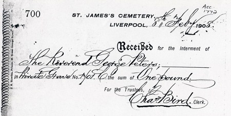 Receipt for the Interment of Reverend George Peters